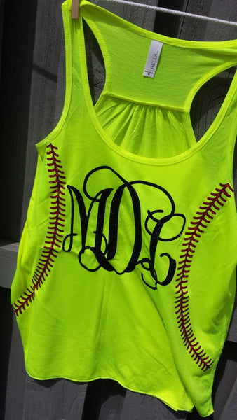 Softball or Baseball Monogram Racerback Glitter Stitches Womens Racerback Tank
