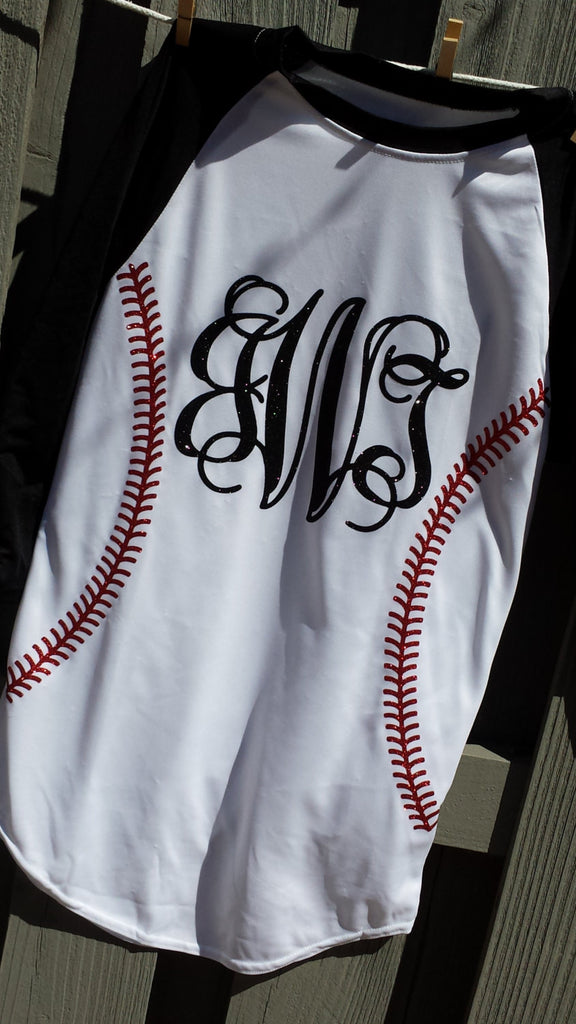 Kids Dri Fit Glitter Stitches Monogram 3/4 sleeve kids Baseball tee shirt.