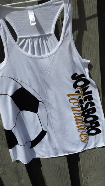 Glitter Soccer flowy tank available in Womens and girls sizes.
