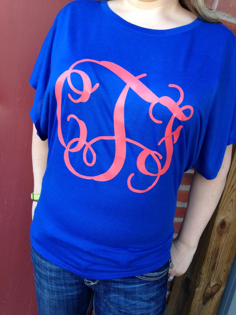 Cute dressy Flowy dolman shirt with Monogram, fitted at waist Womens top!
