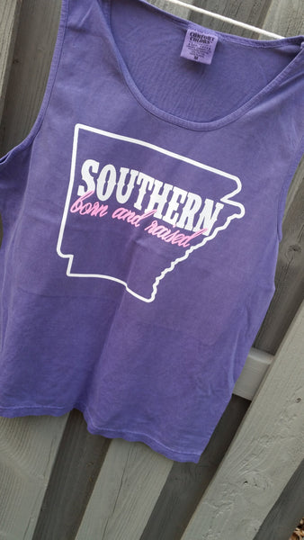 Southern Born and raised State tank -cover up S-XXL Comfort Colors Tank-Customize to your colors and home state! 17 colors choices available