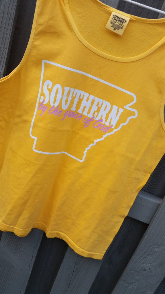 Southern by the grace of God State tank-cover up S-2X Comfort Colors Tank-Customize to your colors and home state! 17 tank colors available