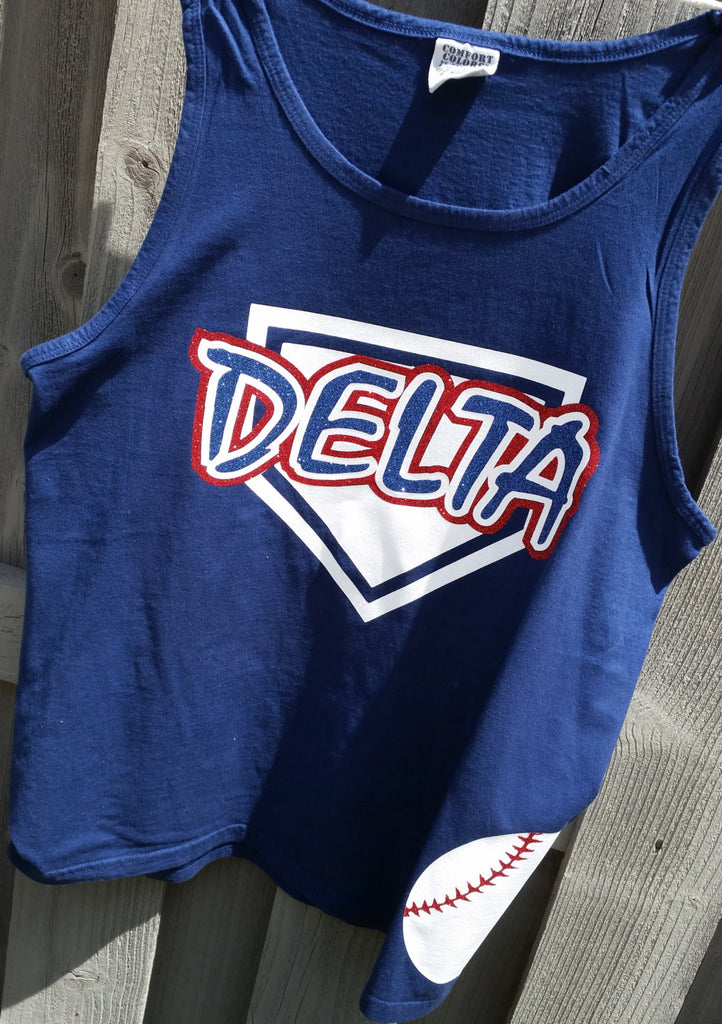ed8c68b1 Custom Comfort colors Home plate tank/coverup with baseball on side ...