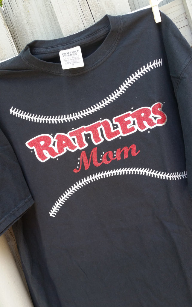 Baseball or Softball mom Stitches glitter tee