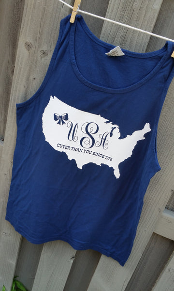 USA Monogram Cuter tank - cover up S-XXL Comfort Colors Tank- Customize! 19 color choices available