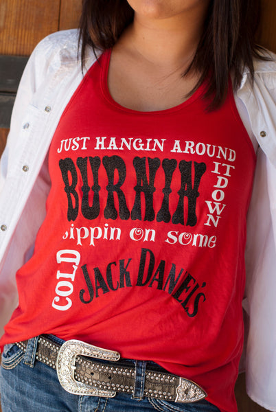 Burnin It Down racerback flowy tank-