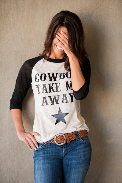 Cowboy take Me Away Alternative Apparel Big Burnout Baseball tee