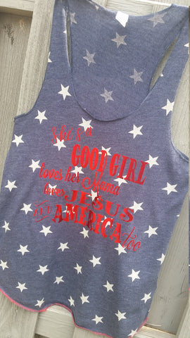 Good Girl Patriotic Stars Alternative Apparel Tank