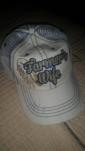 Farmer's Wife glitter distressed baseball cap Any Crop available, customize to your farmer, customize to your colors Ball Hat Agri