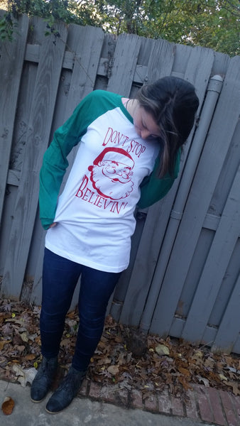 Santa Claus Don't Stop Believin' shirt Vintage Santa Holiday shirt Baseball tee Unisex tee