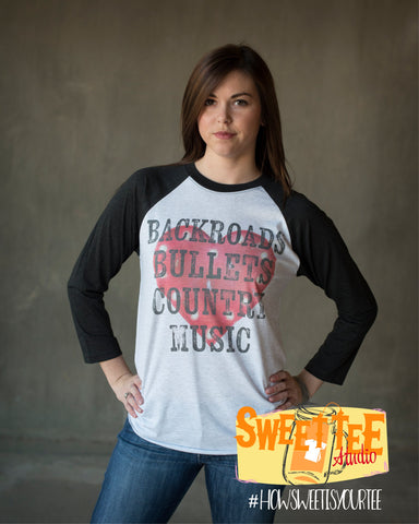 BackRoads Bullets Country Music Baseball tee