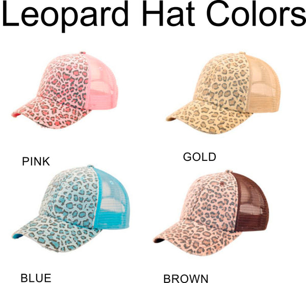 Glitter School Mascot Leopard hat ball cap  Customize to your school. Mesh back Cap