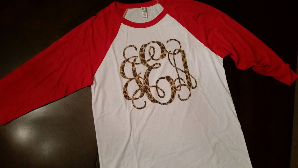 Leopard Glitter monogrammed baseball tee shirt Customize it!