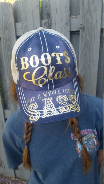 Boots Class and a Whole Lot Of Sass ball cap Printed bill hat Fun Ballcap from Sweet Tee Studio