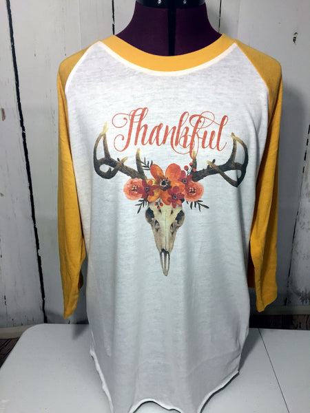 Thankful Boho baseball shirt