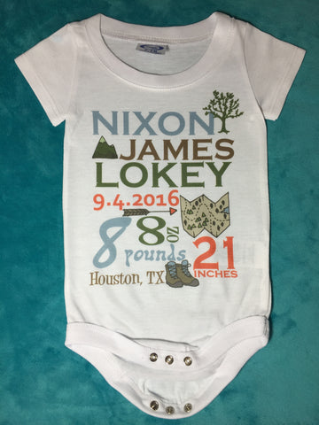 Personalized baby announcement one piece top