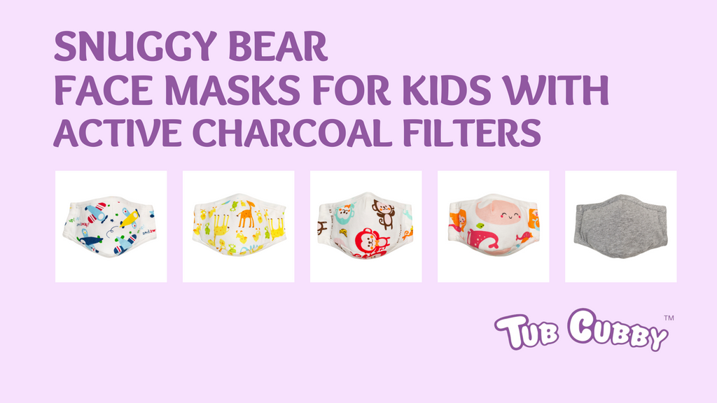 Snuggy Bear Face Masks for Kids with Active Charcoal Filters