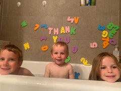 Cubby Cares Thank You Photo for our ABC 123 Soft Foam Letters