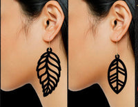 "LEAF Shaped Full Grain Leather Earrings - LARGE (2""-2.5"" Varied)"