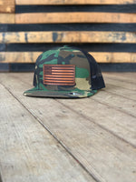 Flat Bill Wool Trucker Flag Hat - Woodland/Black