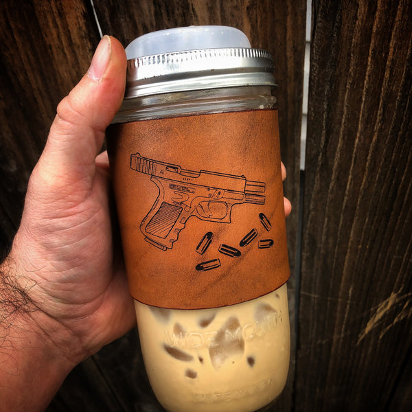 24oz Travel Mug (Leather Wrapped Mason Jar)
