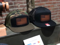 7 Panel Flat Bill Trucker Hats with American Flag