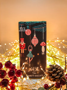 Amaretti Biscuits - Dark Chocolate Bar - 64.5% Peruvian with Christmas design