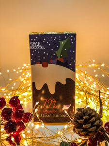 Christmas Pudding - Dark Chocolate Bar - 72% Ecuadorian with Christmas design