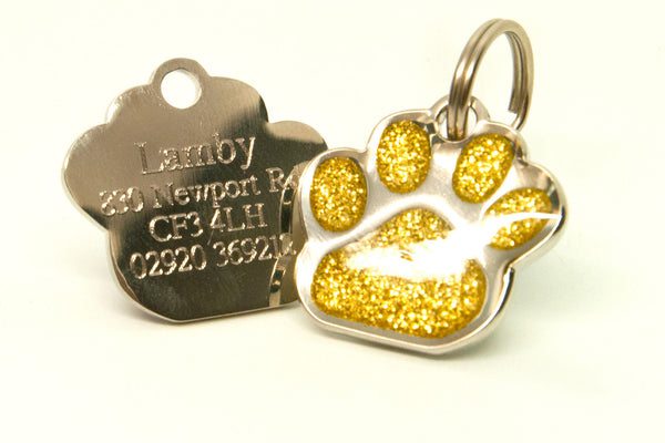 Glittered Paw ID Badge - 4Paws