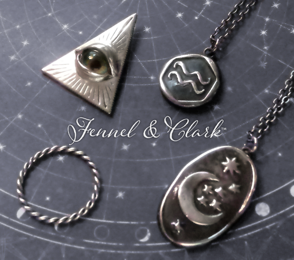 An occult and dark academia assortment of jewelry by Fennel & Clark