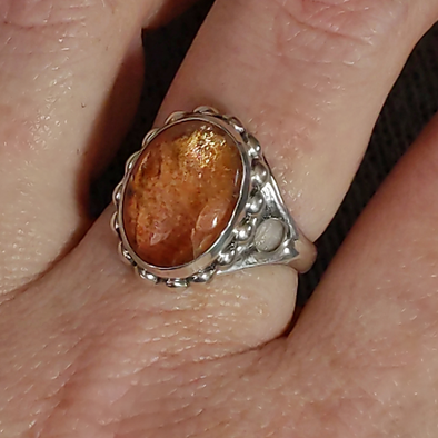Magnus Handmade Sunstone and Sterling Silver Ring