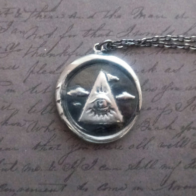 Fennel & Clark Sterling Silver Eye of Providence Wax Seal Pendant