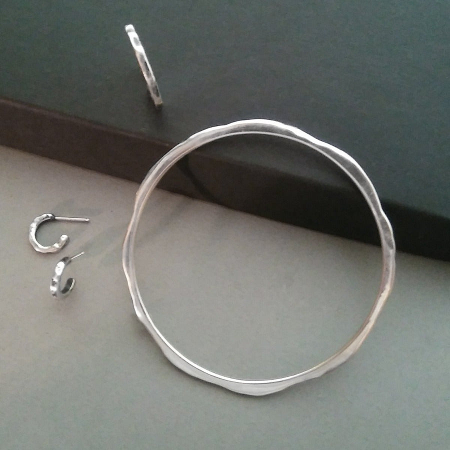 Joan Distressed Sterling Silver Bangle