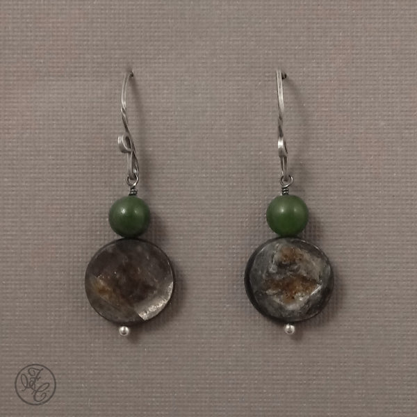 Limited Edition: Nadia Golden Mica & Jade Earrings
