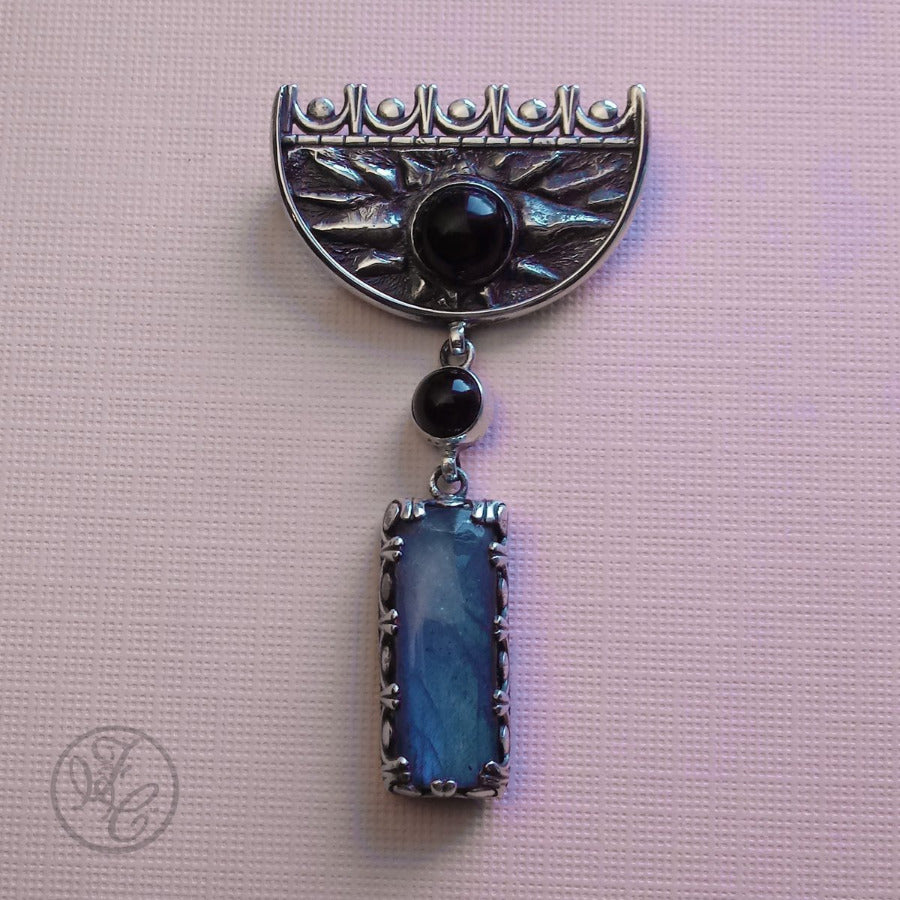 Alanna Sterling Silver, Labradorite, and Onyx Brooch
