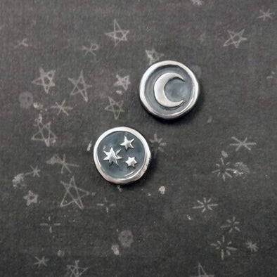 Fennel & Clark Sterling Silver Pleiades Wax Seal Earrings