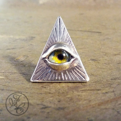 Fennel & Clark Sterling Silver Eye of Providence Scatter Pin, Green