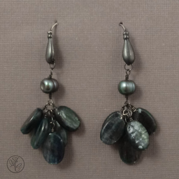 Limited Edition: Sophie Kyanite and Freshwater Pearl Earrings