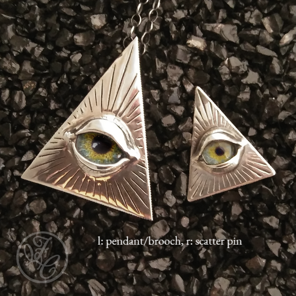 Size comparison between the Eye of Providence Pendant and Scatter Pin