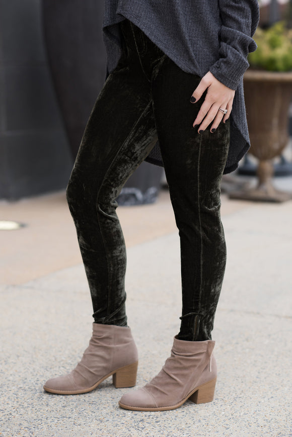 Olive Velvet Leggings