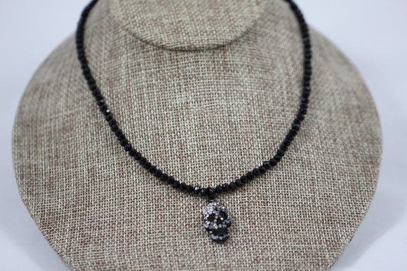 Black Beaded Skull Necklace