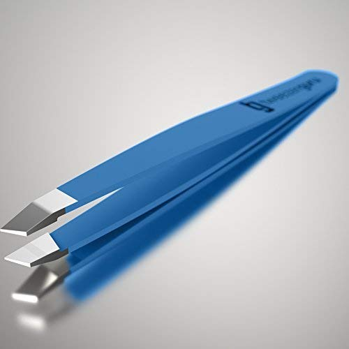 Tweezer Guru Blue Slant Tip Tweezers, Stainless Steel