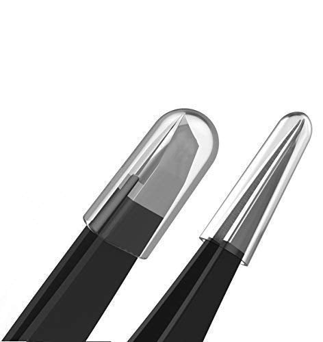 Tweezer Guru Black Slant and Pointer Tweezers 2-Piece Set, Stainless Steel