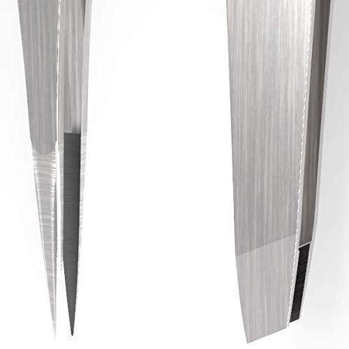 Tweezer Guru Silver Slant and Pointed Tweezers 2-Piece Set, Stainless Steel