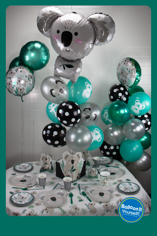 Koala tablescape with Balloon It air-filled balloon decorations