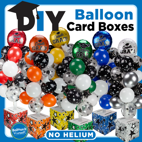 Balloon It Card Boxes Do It Yourself complete kit with balloons and decorative accessories.