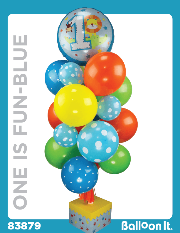 One Is Fun, Blue Balloon It Bunch. All-in-one complete DIY Kit (1) - Balloon It