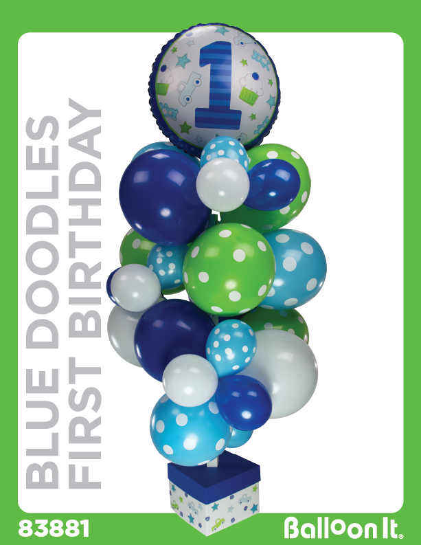 Blue Doodles First Birthday Balloon It Bunch. All-in-one complete DIY Kit (1) - Balloon It