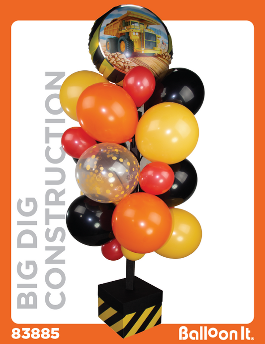 Big Dig Construction Balloon It Bunch. All-in-one complete DIY Kit (1) - Balloon It