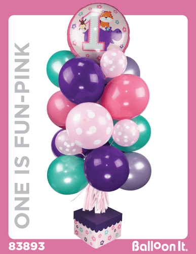One Is Fun, Pink Balloon It Bunch. All-in-one complete DIY Kit (1) - Balloon It